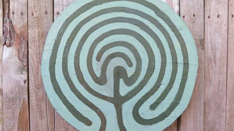 A Labyrinth sign in the garden