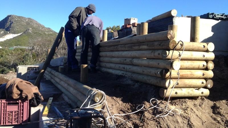 Pole retaining contract in progress