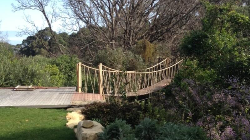 swing bridge into the oak canopy