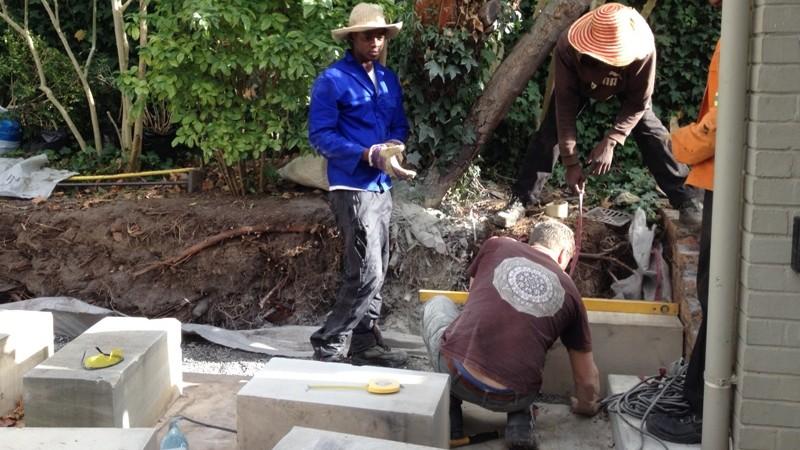 Rob laying the Sandstone blocks