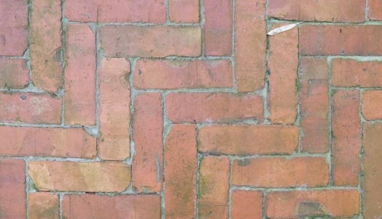 Recycled paving, herringbone pattern