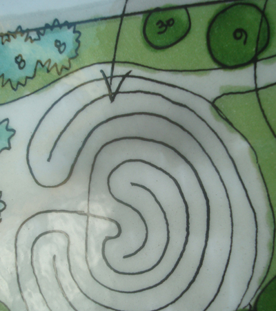 This is a sketch of our labyrinth. Methods for laying out a variety of designs are available on-line. This is the one you can use to walk it in your mind
