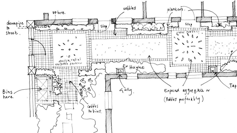 A sketch plan of the proposed paving
