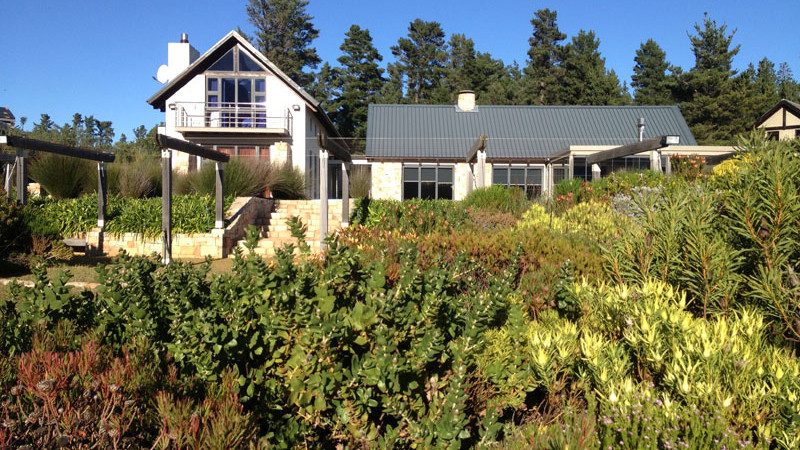The house viewed from the boardwalk in the mature fynbos