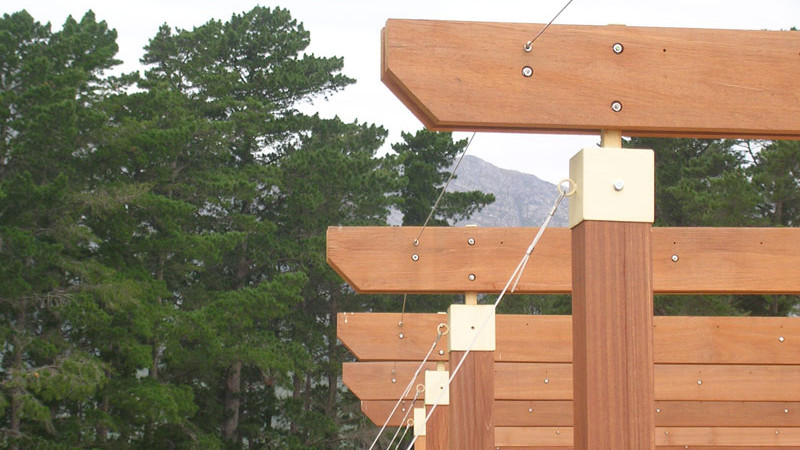 Balau pergola with stainless steel cable bracing