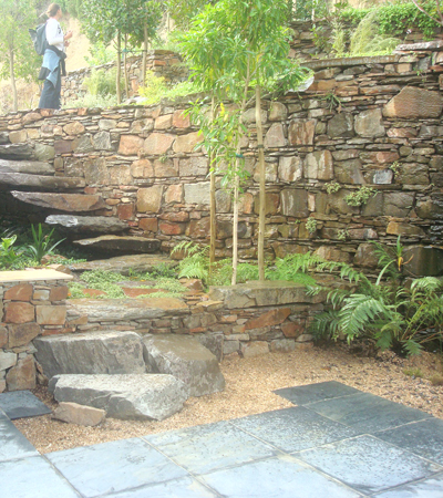 The courtyard environment in Clifton showing how the stair drops into the courtyard over boulders