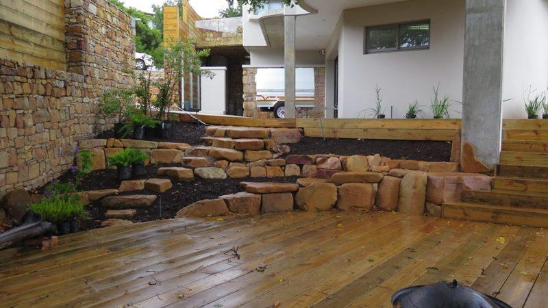 Garden stonework and deck