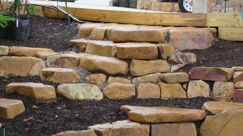 Garden stonework steps